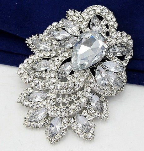 Brooch Large Pendant Pin Rhinestone Crystal BR-024