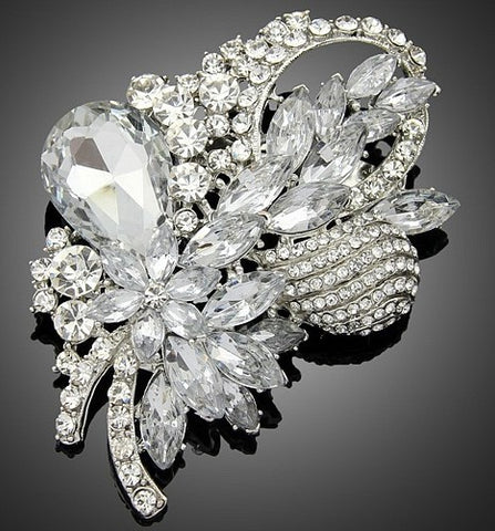 Large Silver / Gold Brooch Clear Rhinestone Crystal BR-30