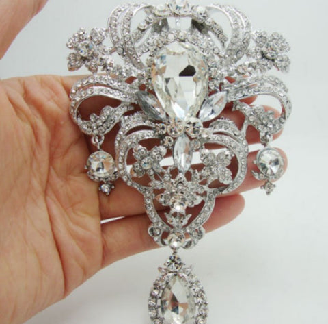 5pcs. Brooch Wholesale Extra Large Flower Pin Rhinestone Crystal BR-004