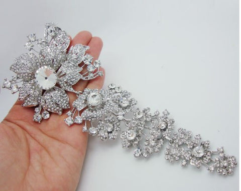 Brooch Extra Large Hair Flower Pin Rhinestone BR-006