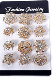 12 Pcs of Rhinestone Gold Flower Brooch BR-015