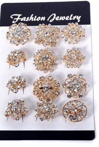 120 Pcs of Rhinestone Gold Flower Brooch WBR-015