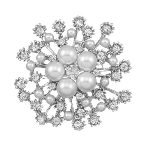 Silver or Gold Brooch Pearls Rhinestone Crystal BR-014
