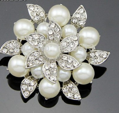 Brooch Pearl and Gold Pendant Pin Rhinestone Crystal BR-970