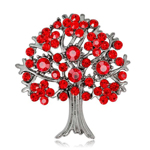 Brooch Ruby Red Tree Pendant Pin Rhinestone Crystal BR-988