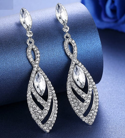 MEC-011 Crystal Pearls Long Drop Earrings Bridal Wedding Jewelry