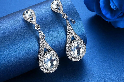 MEC-007 Crystal Pearls Long Drop Earrings Bridal Wedding Jewelry