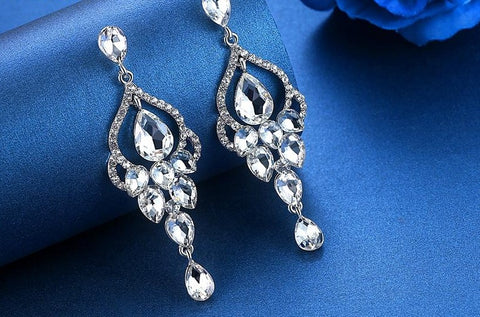 MEC-012 Crystal Pearls Long Drop Earrings Bridal Wedding Jewelry
