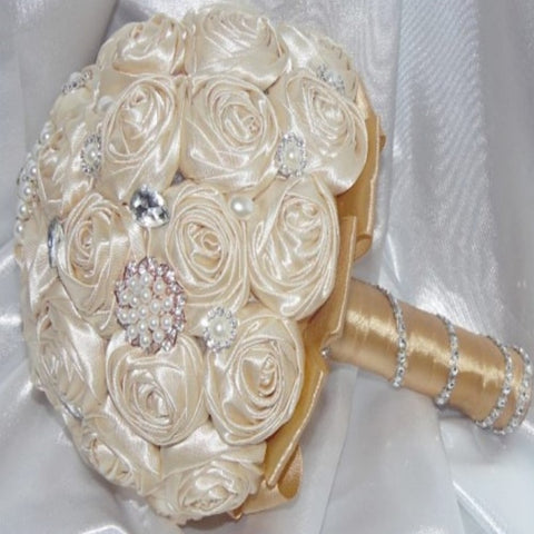 FRAN~EMR Satin Rose Brooch Bouquet or DIY KIT