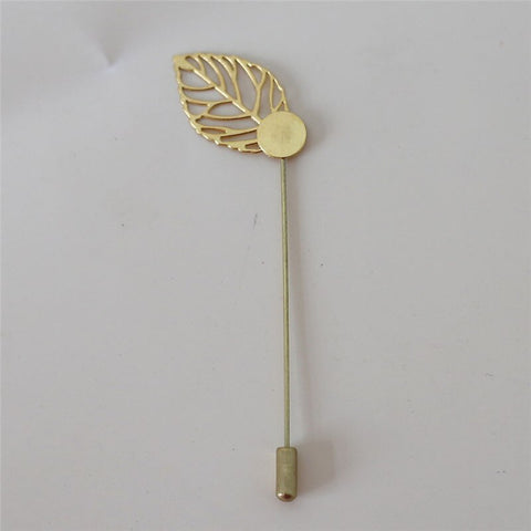 10 Pack Boutonniere Corsage Leaf Lapel Pin Silver or Gold BOUT-PINST
