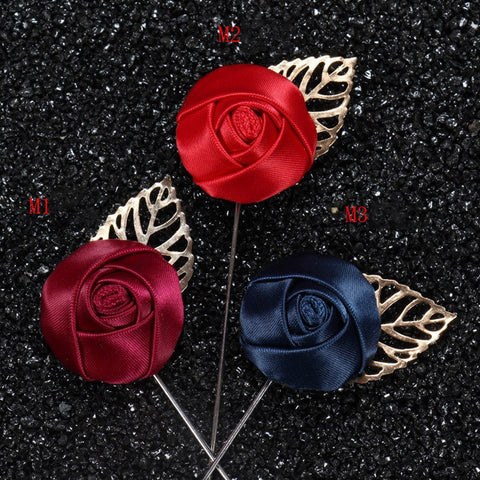 Fabric Flower Boutonniere, Lapel Pin Formal Wear Wedding Prom BOUT- 002