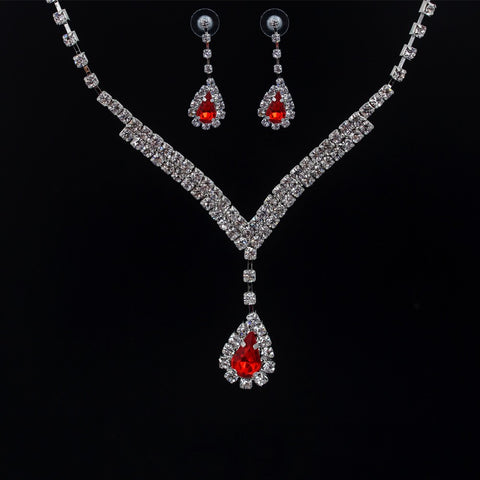 Bridal Prom Red Jewelry Set JEW-RED