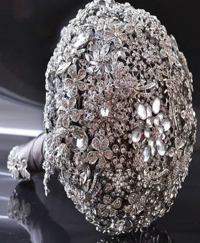 Deluxe Silver Brooch Bouquet LUX-ROYALE