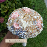 PEACHY ~ Satin Rose Brooch Bouquet or DIY KIT