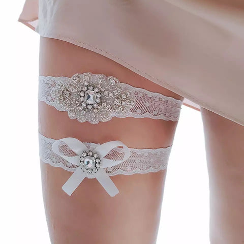 Bling Wedding Bridal Lace Garter Set ~ 002G