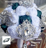 JENNA~EMR Phila. Eagles Satin Rose Brooch Bouquet or DIY KIT