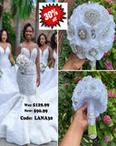 LANA ~ SILK Roses Brooch Bouquet