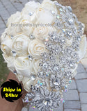 Ivory Cascade Satin Rose Brooch Bouquet 24HR- MACY