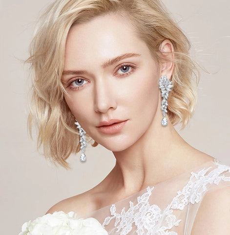 MEC-015 Crystal Long Drop Earrings Bridal Wedding Jewelry
