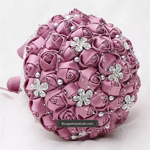 RISA Satin Roses Brooch Bouquet or DIY KIT ~ RISA