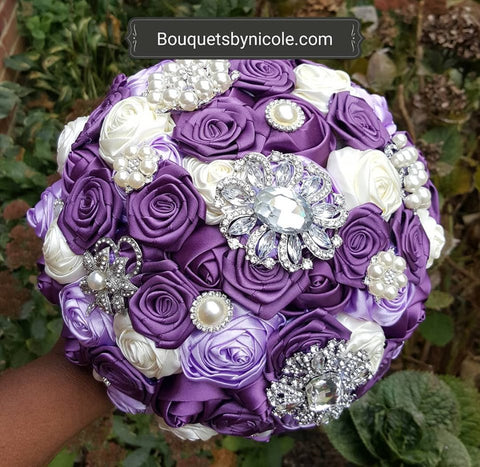 TYLER ~  Satin Roses Brooch Bouquet or DIY KIT ~ Purples Lavender