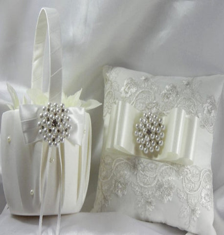 Lace Customized Brooch Wedding Flower Girl Basket Pillow Guest Book Pen CBP- 008