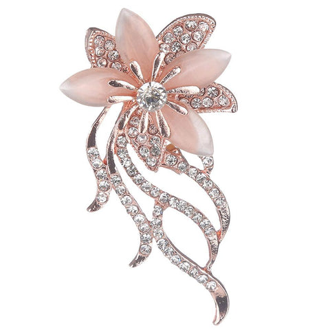 Rose Gold Flower Brooch Rhinestone Crystal BR-03