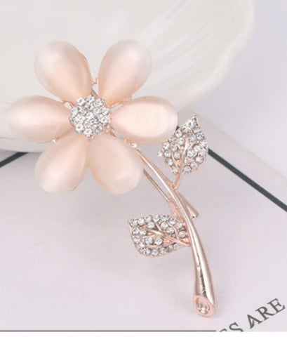 Rose Gold Rhinestone Flower Brooch BR-28