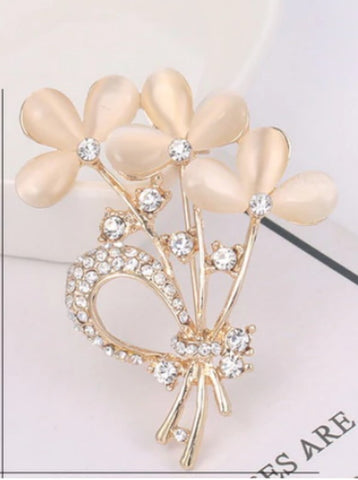 Rose Gold Rhinestone Flower Brooch BR-25