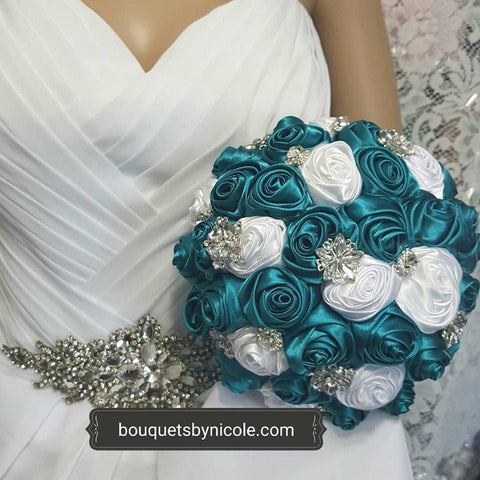 ALANA ~ Deluxe Satin Roses Brooch Bouquet or DIY KIT
