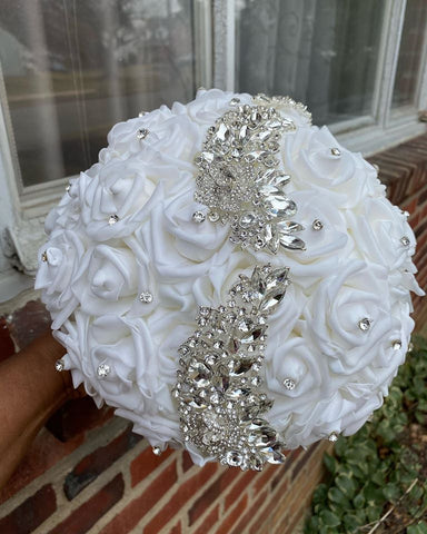 ALYSSA ~ Real Touch Roses Brooch Bouquet or DIY KIT