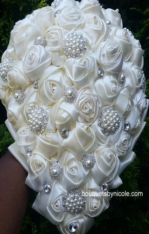 ANGEL ~ Cascade Waterfall Satin Rose Brooch Bouquet BCUST