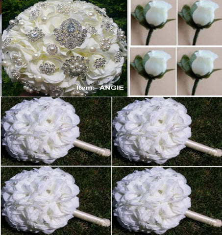 Customize Your Package Cascade Waterfall Bridal Brooch Bouquet PACK- ANGIE