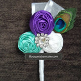 Satin Fabric Flower Boutonniere, Lapel Pin Formal Wear Wedding Prom BOUT-ARIEL
