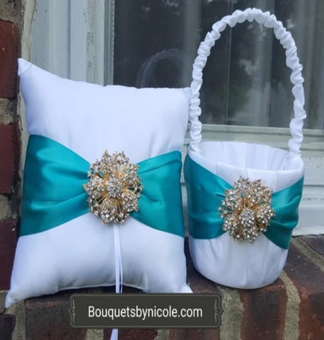 Customized Brooch Wedding Ring Pillow Flower Girl Basket Guest book Pen Set CBP- 011