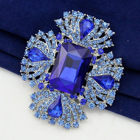 Brooch Ruby Blue and White Pendant Pin Rhinestone Crystal BR-985