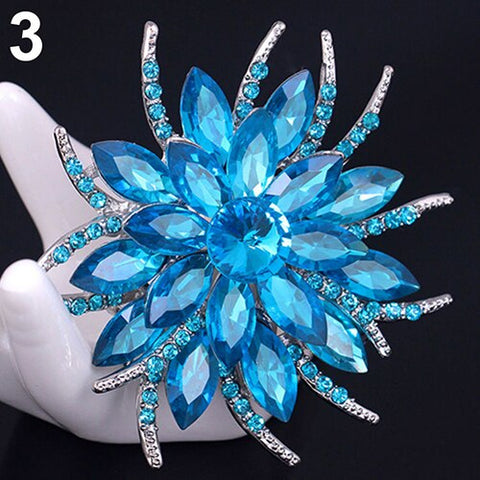 Brooch Large Blue Pendant Pin Rhinestone Crystal BR-990