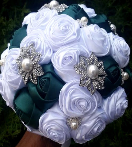 Philadelphia Eagles DIY Satin Rose Brooch Bouquet KIT-BRE
