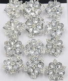 12 Pcs of Silver Rhinestone Flower Brooch BR-034