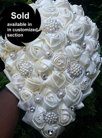 Ivory Cascade Satin Rose Brooch Bouquet 24HR- ANGEL