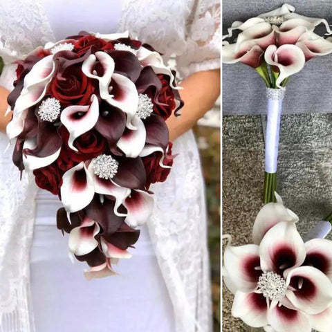 CALLIE~ Picasso Burgundy Cascade Real Touch & Silk Roses Calla Lily Brooch Bouquet