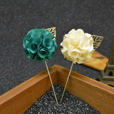 Fabric Flower Boutonniere, Lapel Pin Formal Wear Wedding Prom BOUT- 001
