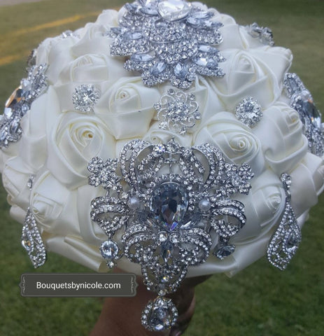 CLARICE-EMR- Satin Rose Brooch Bouquet