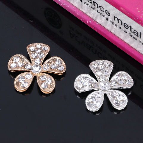 Silver or Gold Brooch Flower Rhinestone Buttons Flatback  BR-800