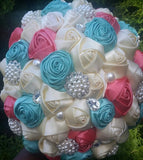 Satin Rose Brooch Bouquet EMR-CORA