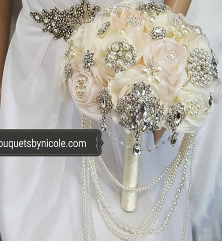 DARCY ~ Ivory Blush Silk Roses Waterfall Cascade Brooch Bouquet