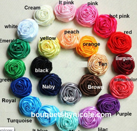 "10 pcs Deluxe Satin Roses 2"" for DIY Bridal Bouquets SATIN-003"