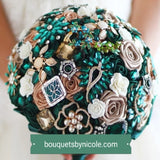 EMERALD ~ Luxury Satin Rose Brooch Bouquet BCUST
