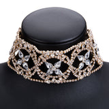 Rhinestone Choker Collar l Gold or Silver Bridal Jewelry l Bridesmaids gift