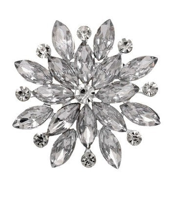 Large Gold or Silver Rhinestone Brooch BR-606